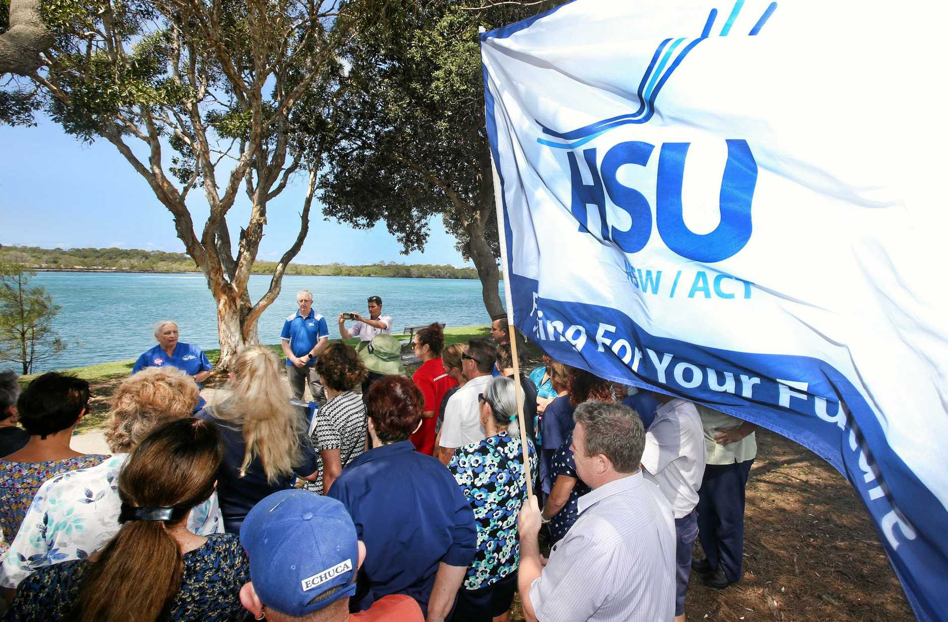 NURSE PROTEST: The Health Services Union and NSW Nurses and Midwives Association held a lunch time meeting outside the Tweed Heads Hospital, and were calling on the NSW Government to release its long-awaited Community Health Review report.