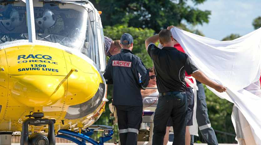 Ryan Bowring, 25, was transported to Mackay Base Hospital on Monday after being attacked by a shark in the Whitsundays.