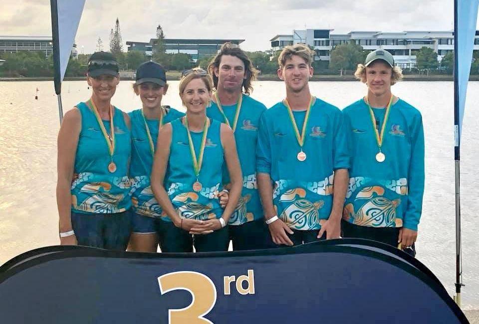 THIRD-BEST IN AUSTRALIA: OC6 Open Mixed Crew 1500m  Joshua Hurst, Erin Hurst, Nicky Hurst, Hayden Bright, Darren Bright and Michelle Lowry.