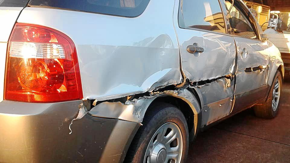 LUCKY TO BE ALIVE: Car damaged in hit and run on the highway.