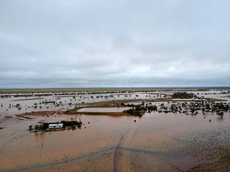 A birds-eye view of the sea that surrounds Ingrid Miller's home at Wybreccan Station after almost 300mm of rain.