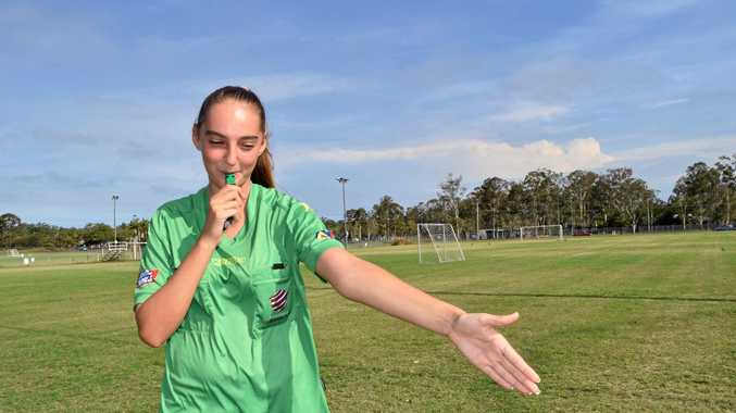 TOP JOB: Caitlin Troy, 17, has been named Football Queensland's female Referee of the Year. The Hervey Bay student is a Bundaberg referee in the Wide Bay Premier League.