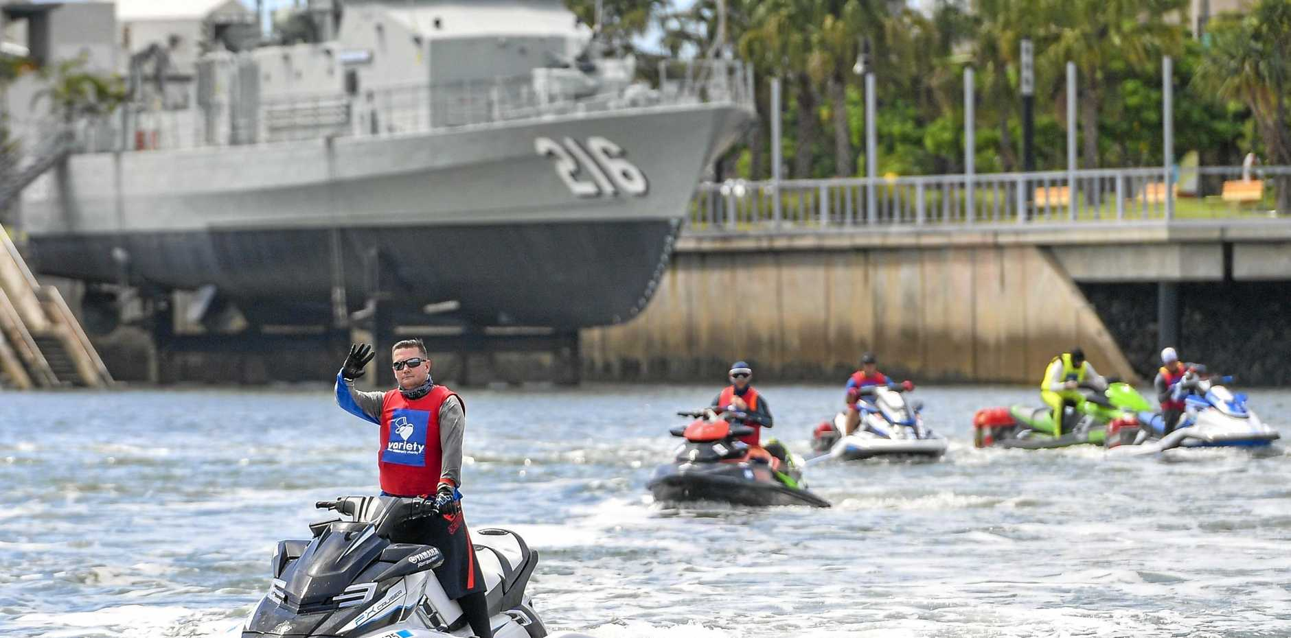 Jet skiers made their way into Gladstone Harbour as part of the 2019 Variety Yamaha Jet Trek, o their way from Bundaberg to Hamilton Island, raising money for disadvantaged children.