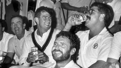 Geoff Marsh and David Boon celebrate a win over the West Indies, fully clothed this time.
