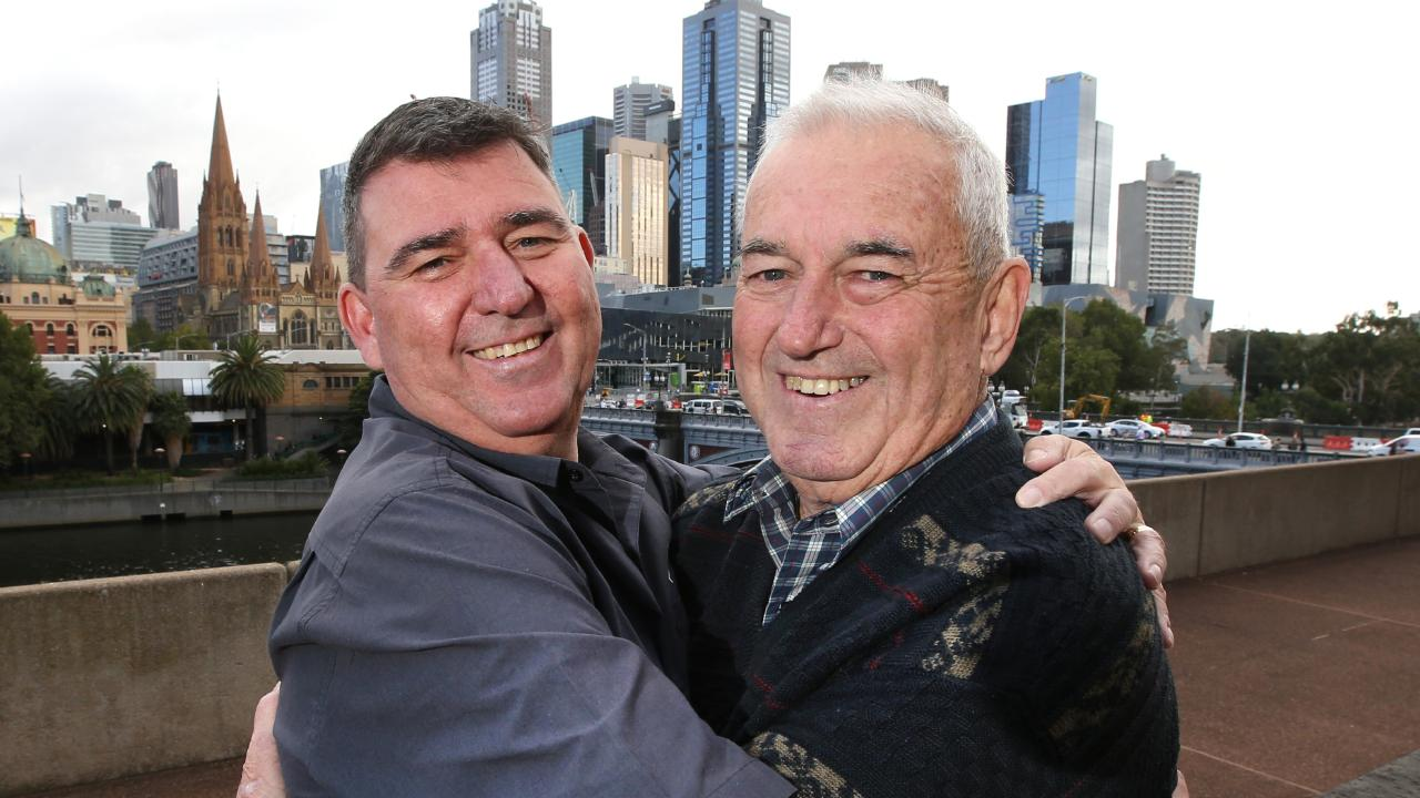 Peter, 73, from Stawell, embraces long lost son, Jamie, 52. Picture: David Caird