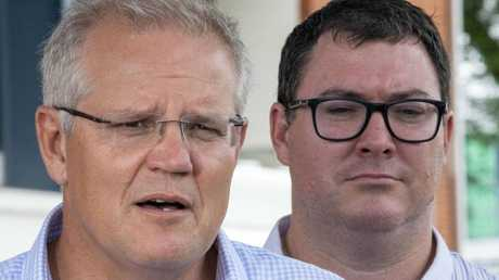 MP George Christensen with PM Scott Morrison in Townsville this February. Picture: Glenn Hunt