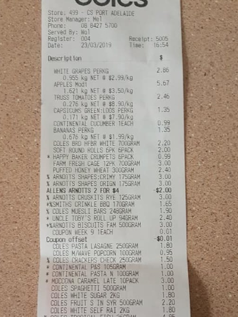 Kylie Gough shared her receipts in her post.