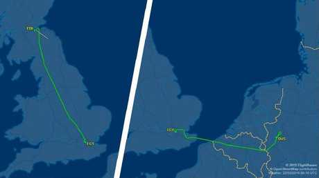 The plane from London flew north to Edinburgh, instead of west to Dusseldorf. Picture: Flight Aware