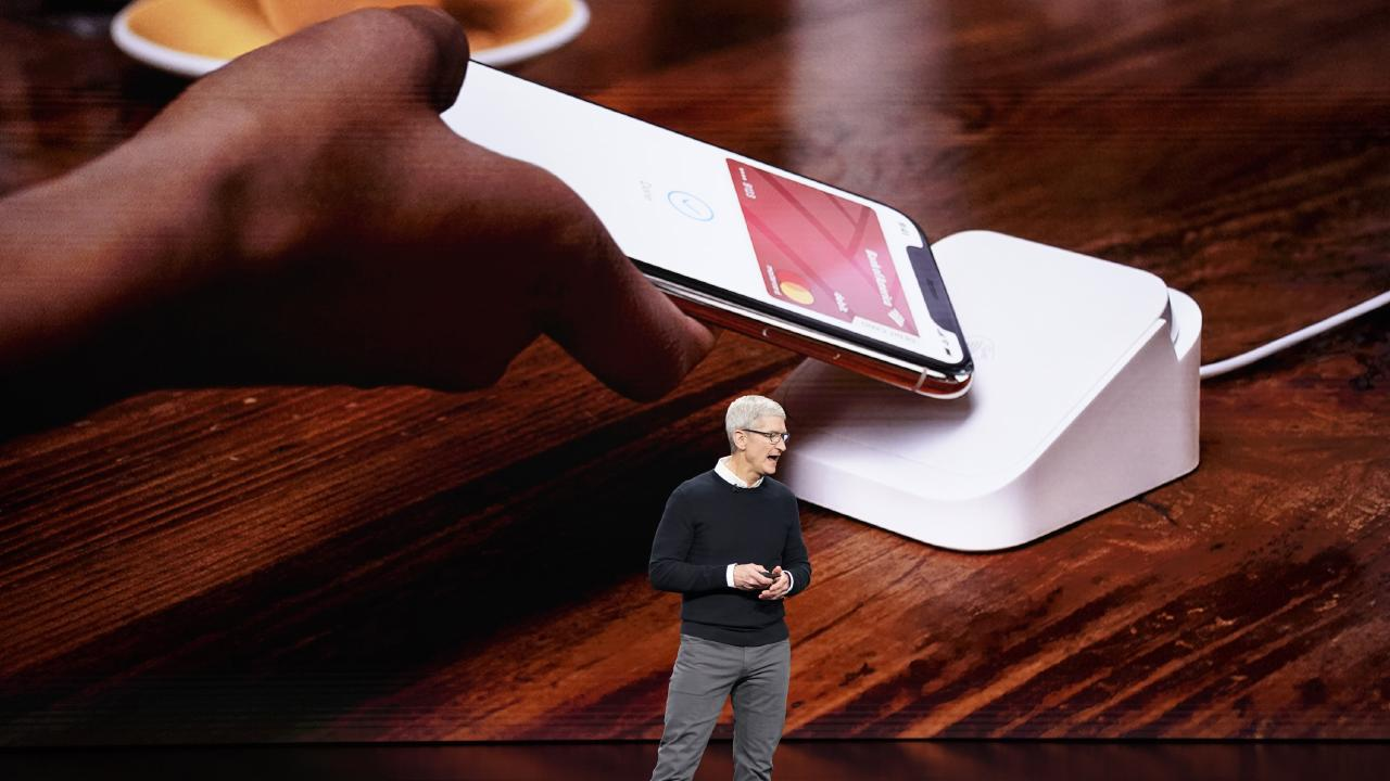 Apple CEO Tim Cook speaks at the Steve Jobs Theatre during an event to announce new products Monday, March 25, 2019, in Cupertino, Calif. (AP Photo/Tony Avelar)