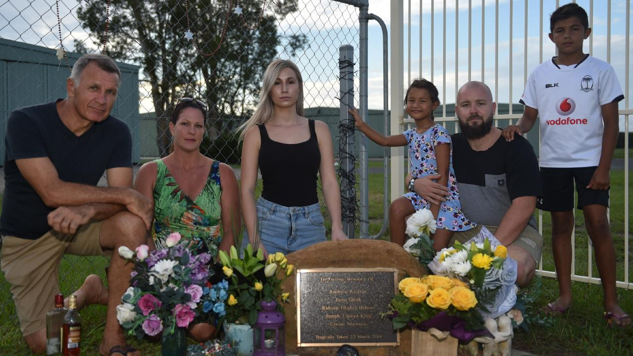 Tibor Glesk, Jodie Prime, Nina Glesk, Emily Glesk, Michal Glesk and Tyler Glesk commemorate the loss of father Juraj Glesk five years ago in a tragic plane crash over the Caboolture Airfield.