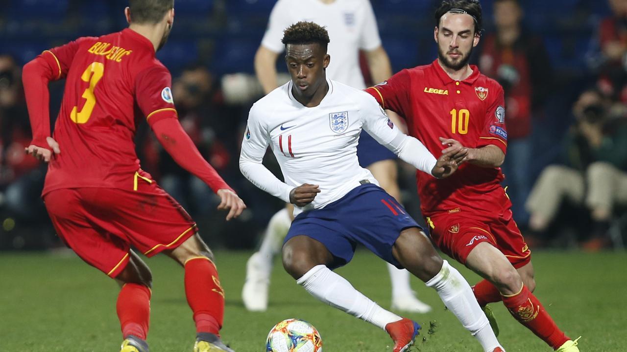 Callum Hudson-Odoi subject to vile abuse in his debut for England. Picture: Darko Vojinovic/AP
