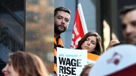 Supporters rally outside the offices of the Fair Work Commission in Melbourne last year. Picture: AAP/Joe Castro