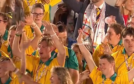 Hervey Bay's Brady Rose at the Opening Ceremony of the Special Olympics World Games in Abu Dhabi