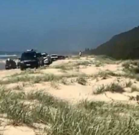 A line of cars drives on the sand dunes at Noosa North Shore sparking concerns from residents.