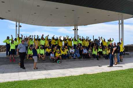 Livingstone Shire Council workers gather at Yeppoon to discuss their job security.