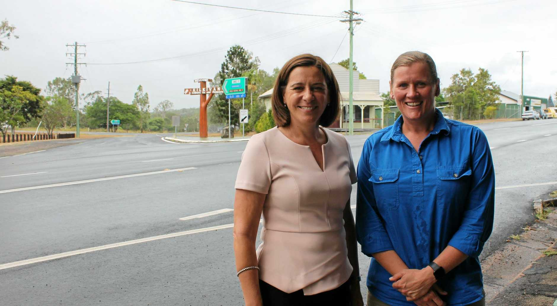 TRAFFIC WIN: Nanango MP Deb Frecklington and Kilkivan businesswoman Katy McCallum at the James St intersection with the Wide Bay Highway. James Street will have 'Local Traffic Only' signs installed.