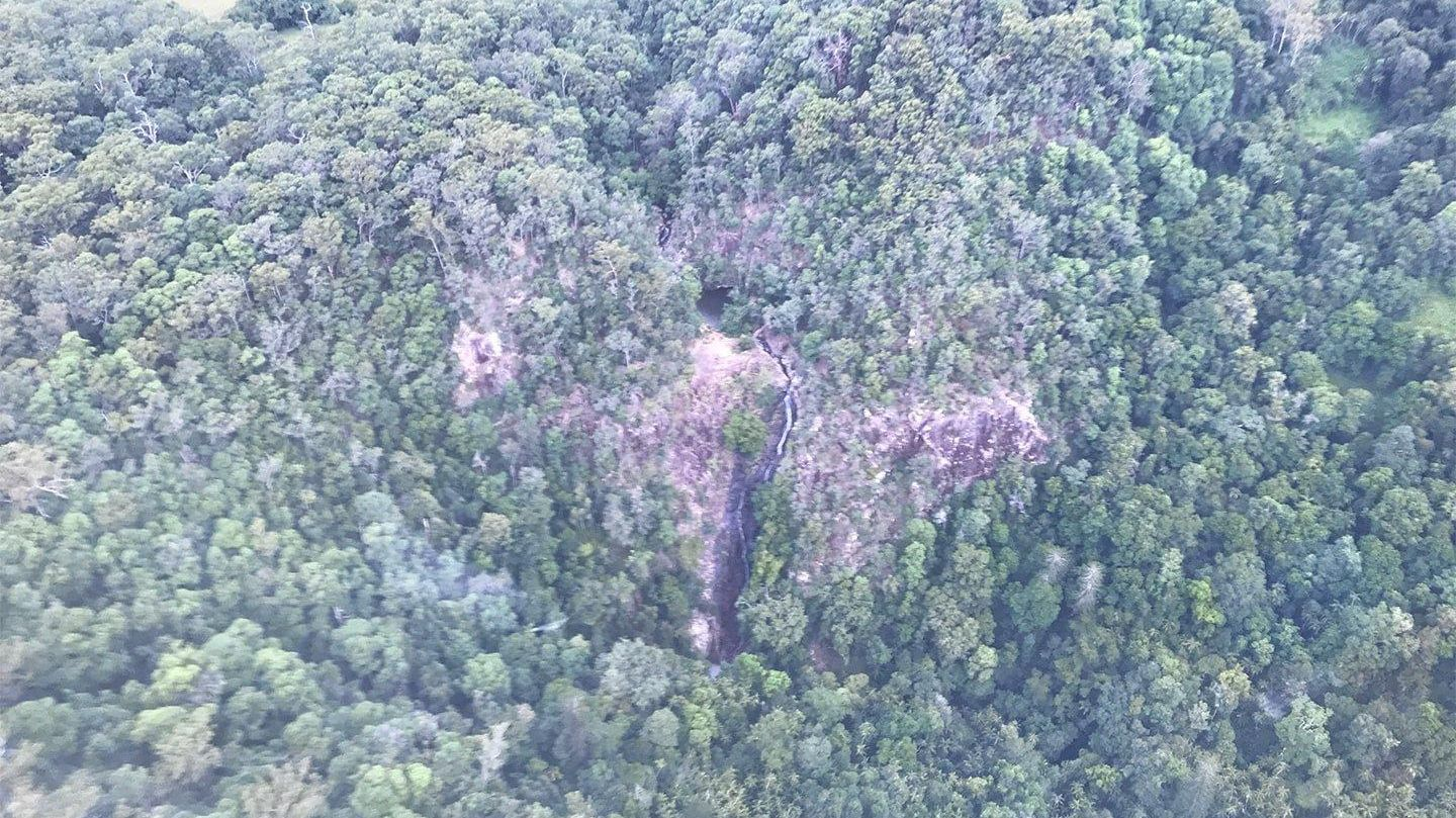A man in his 40s was flown to hospital after he fell down a steep gorge at Kondalilla falls yesterday afternoon.