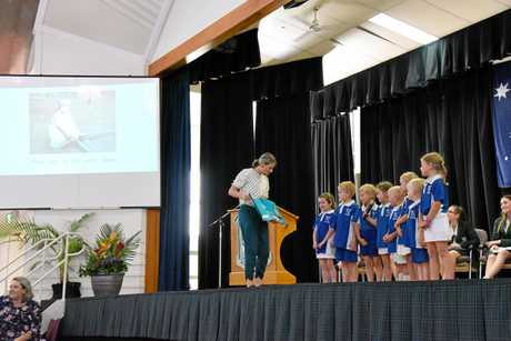 Abercorn State School students present their interpretation of Mem Fox's 'Where is the Green Sheep?' to His Excellency the Governor of Queensland Paul de Jersey.