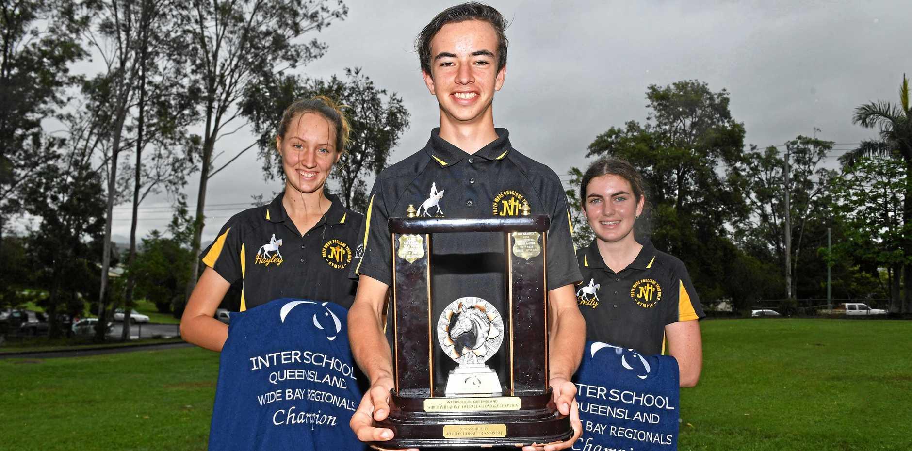 James Nash Equestrian team  Wide Bay champion winnersHayley Cross, Keegan Channels, Emily Larsen
