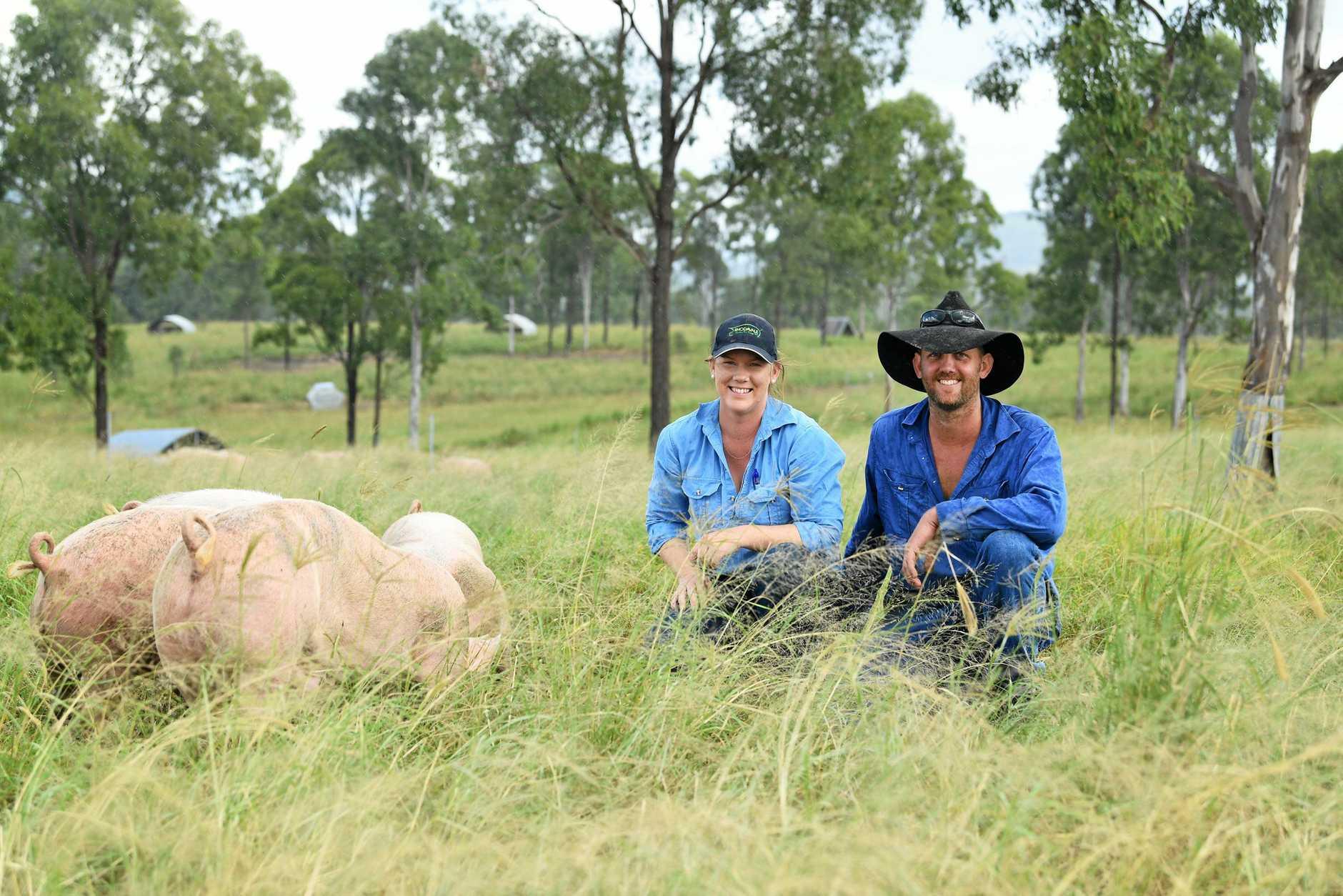 Melinda and Brad Murnane from Rhodavale Pork at Lower Wonga.