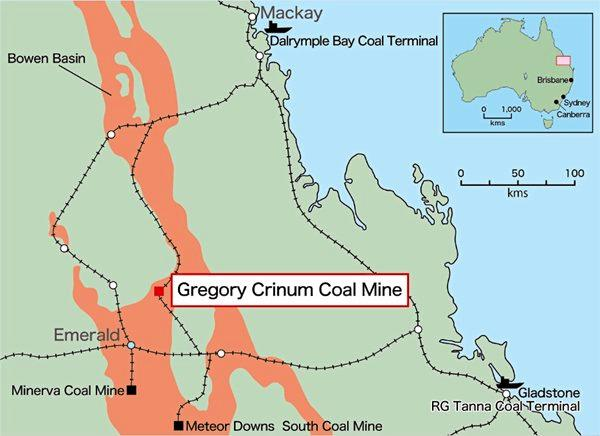 A map showing the location of Gregory Crinum mine, which is set to be re-opened in the first half of 2019.
