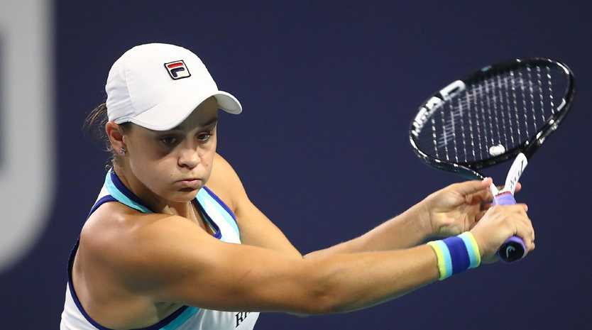 Ashleigh Barty in action against Petra Kvitova today in Miami. Picture: Julian Finney/Getty Images/AFP