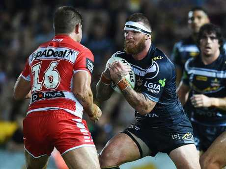 Round 1 game of the NRL Telstra Premiership between the North Queensland Cowboys v St George Illawarra Dragons from 1300 Smiles Stadium, Townsville. Cowboys Josh McGuire. Picture: Zak Simmonds