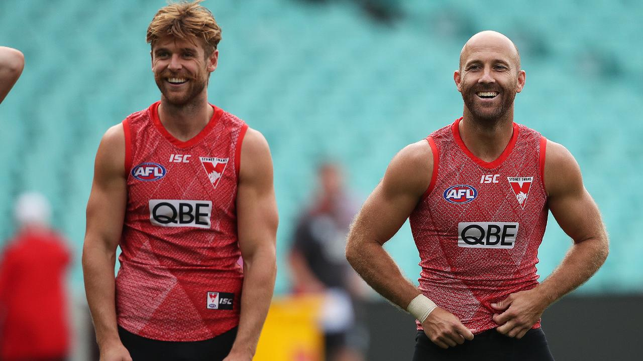 Dane Rampe, pictured at training with teammate Jarrad McVeigh, says the Swans will adopt a siege mentality. (Picture: Phil Hillyard)