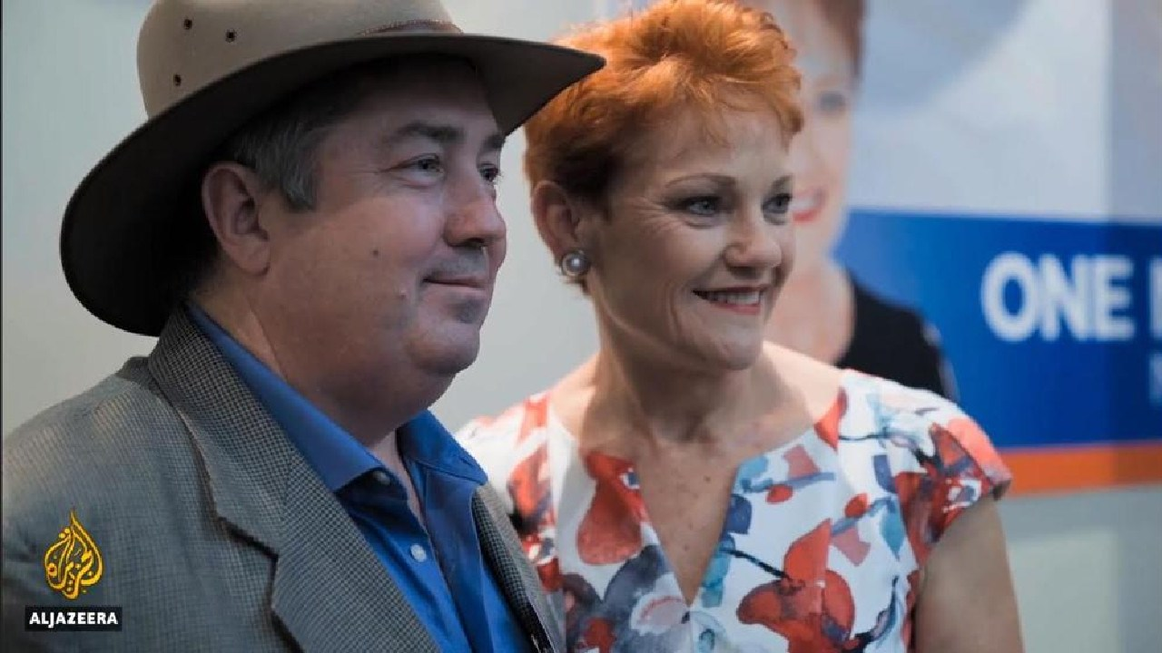 Rodger Muller, the Australian man who went undercover for Al Jazeera to infiltrate the NRA, poses with One Nation's Pauline Hanson. Picture: Al Jazeera