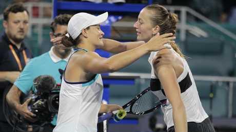 Ashleigh Barty hugs Petra Kvitova.                                 (AP Photo/Luis M. Alvarez)