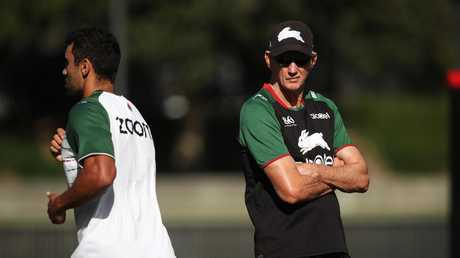 Souths coach Wayne Bennett went to comfort Burns after the young star's uncomfortable encounter at training with his mother. Picture. Phil Hillyard