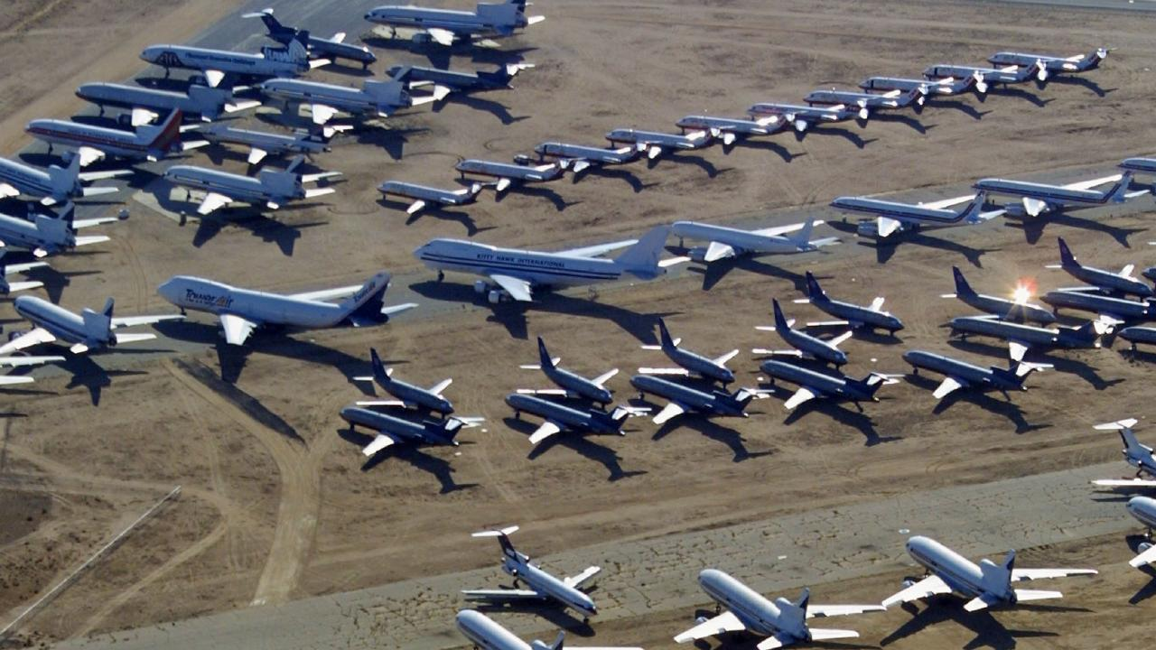 Inside the eerie boneyard where planes go to die. Picture: Mike Fiala/Getty Images.
