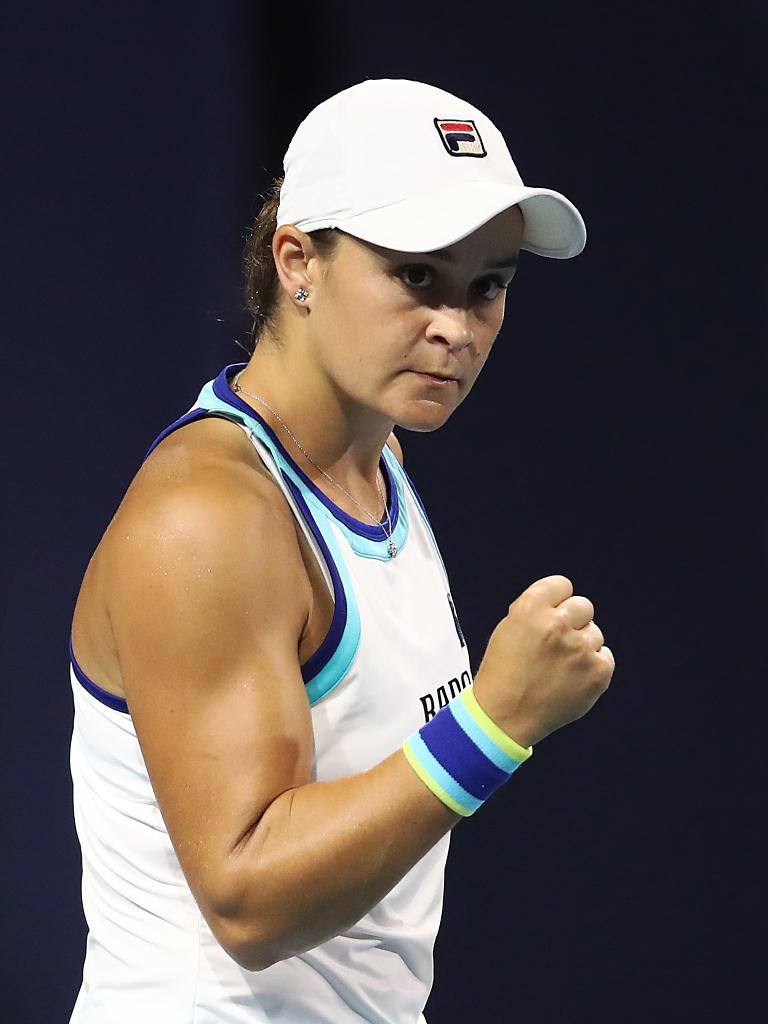 Ashleigh Barty celebrates winning a point against Petra Kvitova                                 (Photo by Julian Finney/Getty Images)