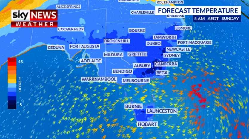 A cold outbreak is set to sweep across southern Australia this weekend. Picture: Sky News Weather.