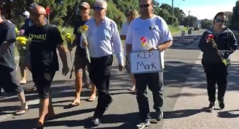 Port Kembla Coal Terminal workers paid tribute to truck driver Mark Roberts.