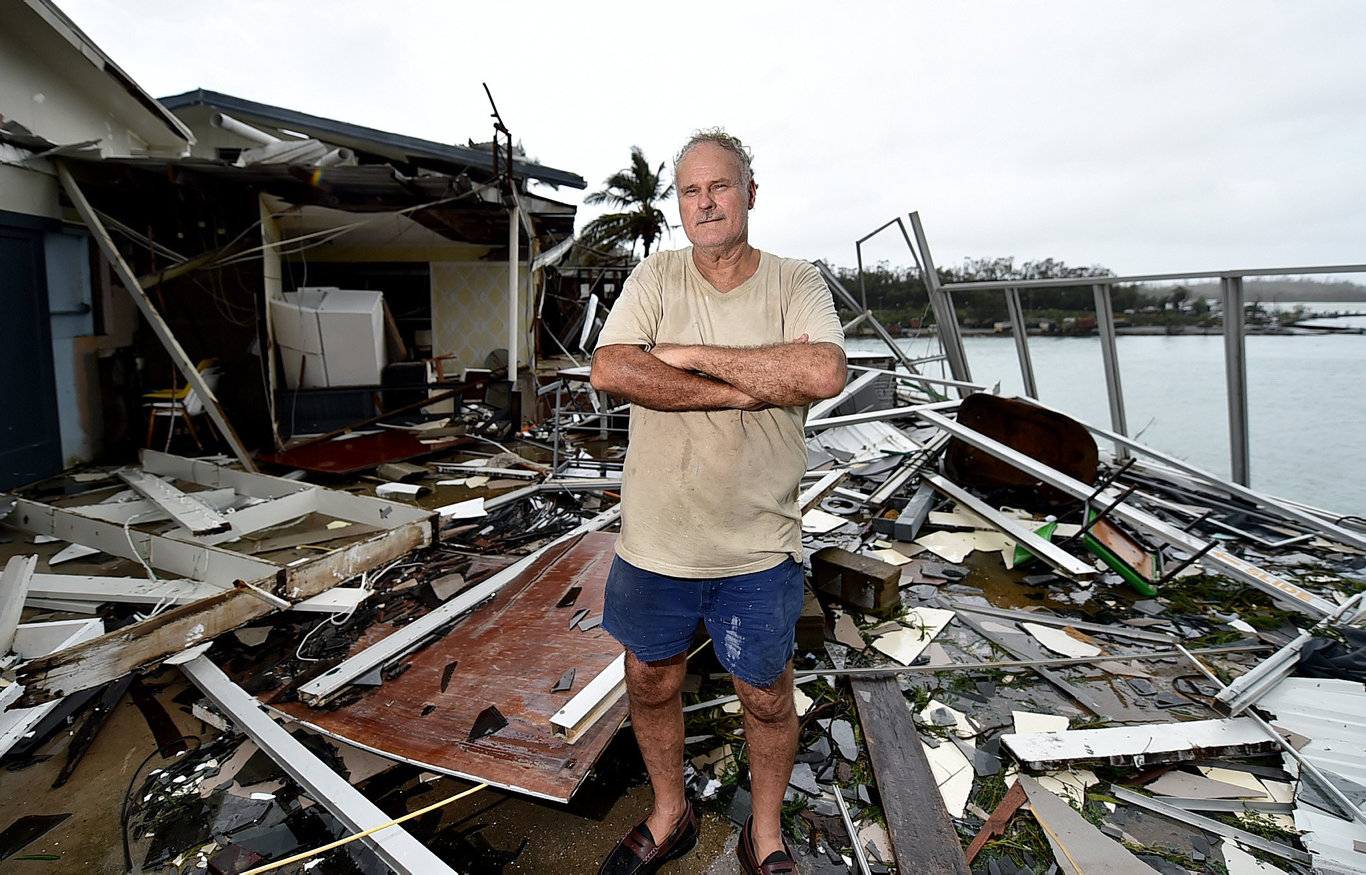Best Photographs of 2017 - Alix Sweeney. Cyclone Debbie aftermath. Airlie Shute Harbour Motel destroyed by Cylone Debbie, owner Dave McInnerney stands amongst the wreckage.