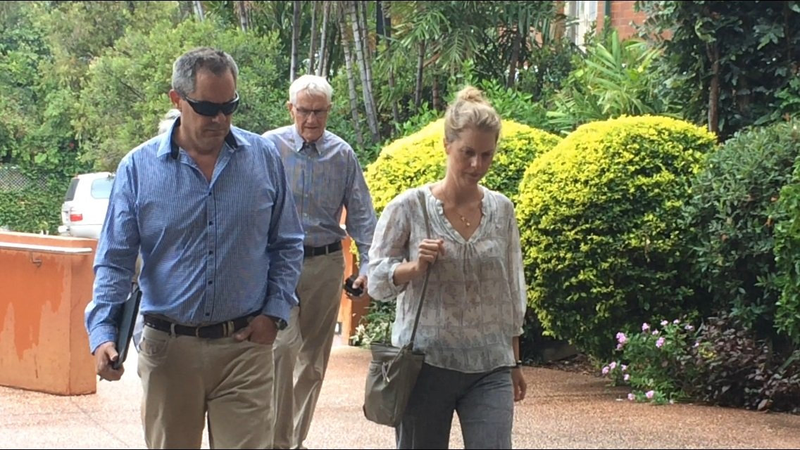 The family of one of the men lost in the Dianne tragedy arrive at the Gladstone Courthouse for the inquest into the vessel's sinking.