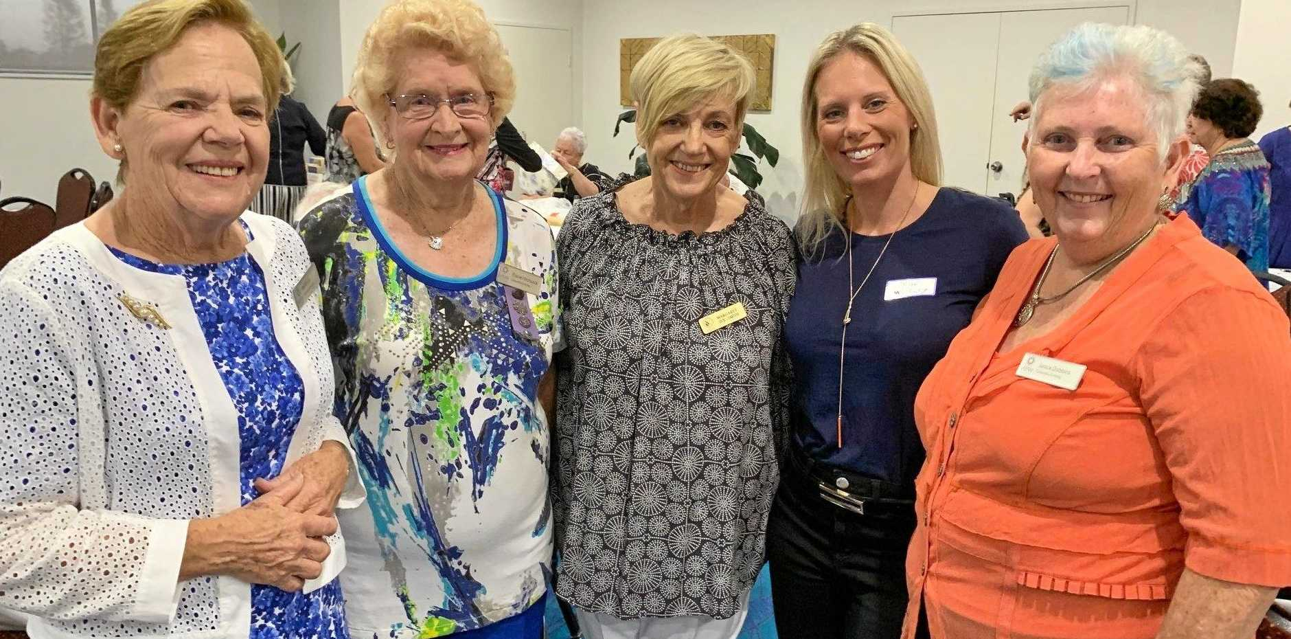 Pat Porter, Elaine Hitchcock, Margaret Ive-Smith, Prue Mosely and Janice Dobbins chat before the recent Caloundra Evening VIEW Dinner.