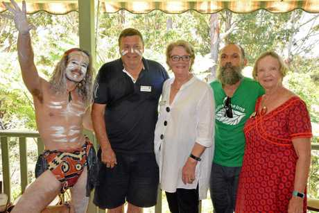 CULTURE ON THE COAST: Pictured at an indigenous cultural presentation at the Green House at Beulah Community, Buderim are (left to right) Jadon Briggs (Beulah), Andrew and Jane Parker (Cornwall), Michael Ward (Beulah) and Carol Harman (Sunshine Coast).
