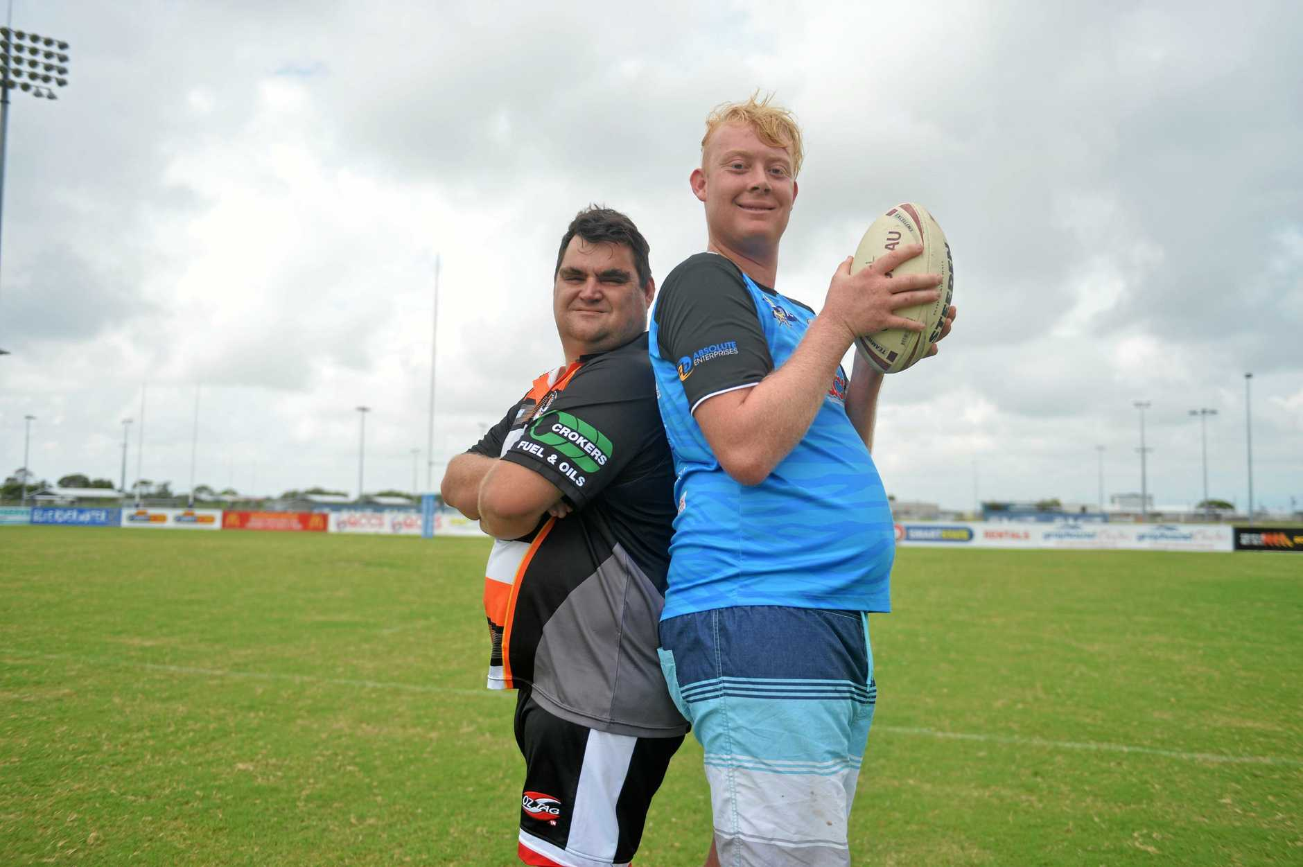 Players for the Mackay all abilities rugby league competition. Daniel Payne (left) for Norths Devils and Mitchell Vella from Wests Tigers.