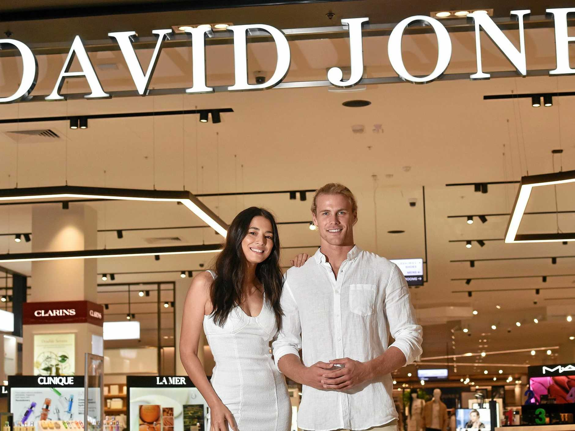Jett Kenny and Jessica Gomes will welcome customers at the new David Jones this morning as part of the Sunshine Plaza's grand reveal of its $440 million redevelopment.