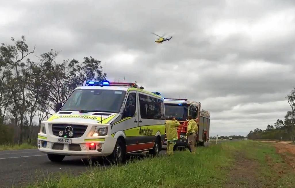 The RACQ LifeFlight helicopter was tasked to a reported vehicle into drain incident on the Bundaberg Ring Rd yesterday.