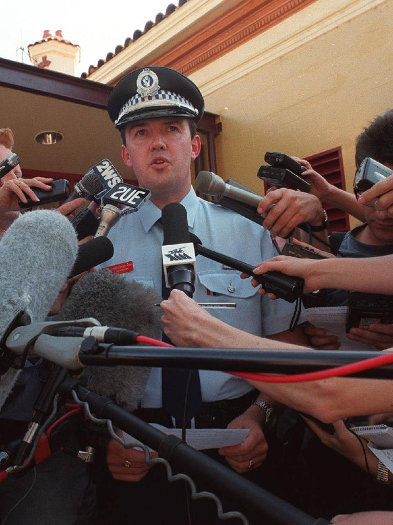 Police address the media at Rose Bay Police Station following Hutchence's death. File picture