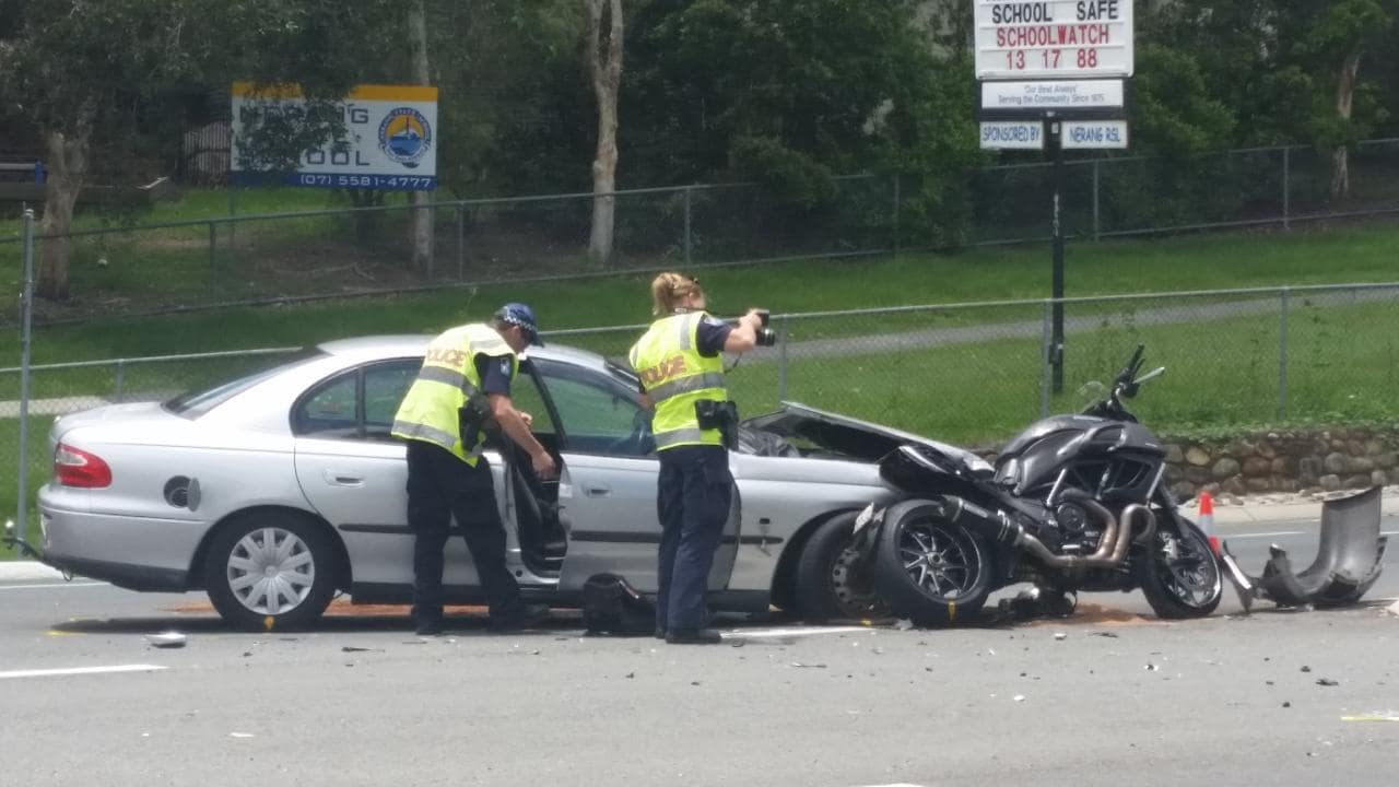 Car and bike crash on Southport-Nerang Rd.