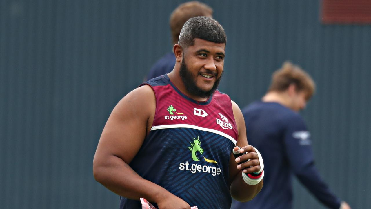 Injured Reds prop Feao Fotiaika at Ballymore training. Pic Annette Dew