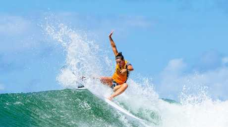Tyler Wright in full flight on the Gold Coast last year before falling sick.