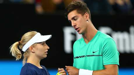 Daria Gavrilova and Thanasi Kokkinakis represented Australia in the 2018 Hopman Cup. Picture: Paul Kane/Getty Images