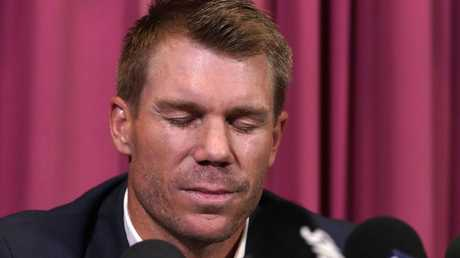 David Warner during his first press conference after the scandal broke