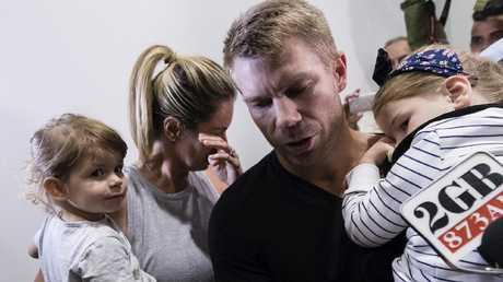 David Warner and familyarriving back in Australia