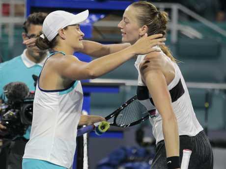 Barty defeated Petra Kvitova to move into the top 10. Pic: AP